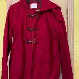 Delia*s Ladies Red Hooded Wool Pea Coat